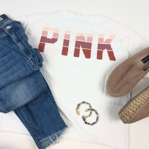 VS Pink Short Sleeve Crop White Tee Top Size Small